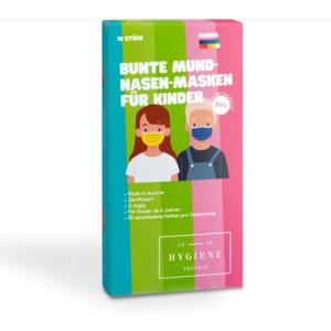 10 Stck. Bunte Kinder Mund-Nasen Masken Zertifiziert gemäß EN 14683:2019 - 10 Farben