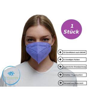 FFP2 Maske Schutzmaske CE Violette 1 Stück mit Gepolsterten Komfort Bügel einzeln Verpackt