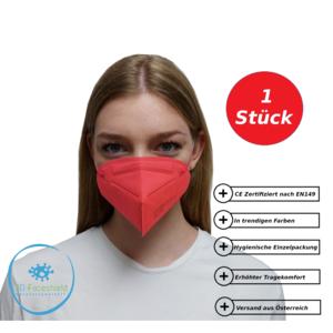 FFP2 Maske Schutzmaske CE Rot 1 Stück mit Gepolsterten Komfort Bügel einzeln Verpackt