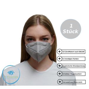 FFP2 Maske Schutzmaske Grau mit Gepolsterten Komfort Bügel 1 Stück Verpack