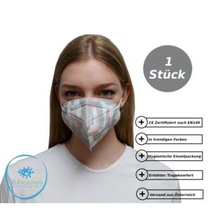 FFP2 Maske Schutzmaske Camouflage 1 Stück mit Gepolsterten Komfort Bügel einzeln Verpackt