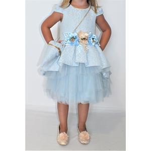 Kleid Mädchen Festlich Einschulung Blumenmädchen Hochzeit Kommunion Hell Blau