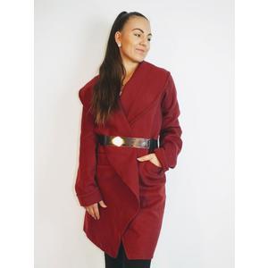 Mantel Damen Wickel Mantel mit Gürtel Wein Rot