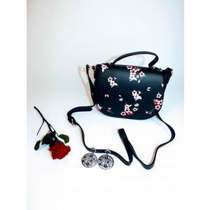 Tasche Damen Schultertasche Handtasche Klein Mit Blumen Muster Handbag Schwarz