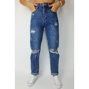 Jeans Damen Mom Fit Denim mit Löcher Blau