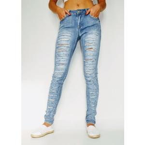 Jeans Damen Skinny mit Löcher Blau