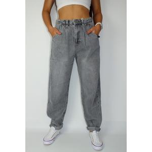 Jeans Damen Denim Oversized Slouchy Grau