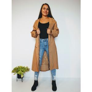 Mantel Damen Lang Reißverschluss mit Kapuze Braun