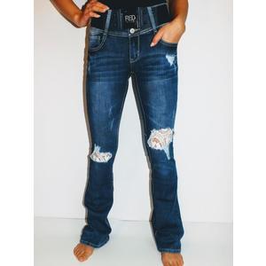 Jeans Damen Denim mit Gürtel Blau