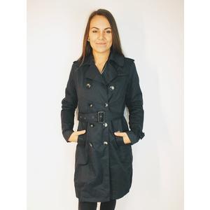 Mantel Damen Kurz Knöpfe mit Gürtel Dunkel Blau