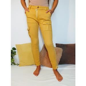 Jeans Damen Skinny Fashion mit Taschen Gelb