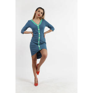 Kleid Damen Kurz Sommer Blau Baumwolle