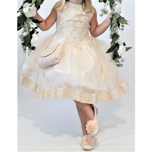 Kleid Mädchen Festlich Einschulung Blumenmädchen Hochzeit Kommunion Gold