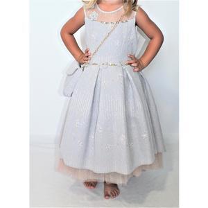 Kleid Mädchen Festlich Einschulung Blumenmädchen Hochzeit Kommunion Grau