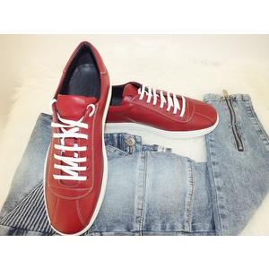 Rote Schnürschuhe Echtes Leder