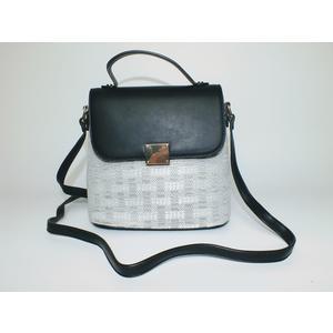 Tasche Damen Schultertasche Handtasche Handbag Schwarz Silber