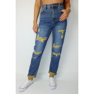 Jeans Damen Denim Mom Fit mit Gelbe Löcher Blau