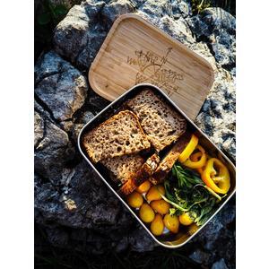 KRXLN Edelstahl Lunchbox mit Bambusdeckel - Groß (1200ml)