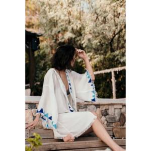 Blue Block Print Kimono