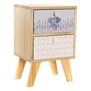Nachttisch Dekodonia Für Kinder Paulonia-Holz (30 x 25 x 47 cm) - Kommode - Kinderzimmerschrank - Kindermöbel