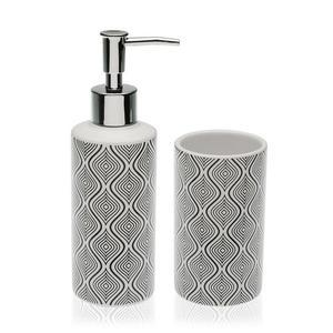 Badezimmer Set aus Keramik - Seifenspender - Zahnputzbecher
