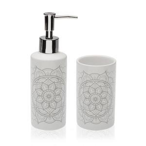 Badezimmer Set Mandala aus Keramik - Seifenspender - Zahnputzbecher