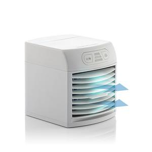 Tragbares Mini-Klimagerät mit Verdunstung und LED - Multifunktion: Kühlt, befeuchtet, reinigt, aromatisiert und beleuchtet