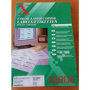 Xerox Labels A4 Laser und Kopier Etiketten mit abgerundeten Ecken 24 Stk 100 Blatt 64 x 34 mm selbstklebend weiss Versandetiketten