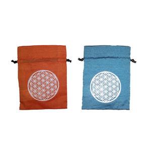 2 Stück Säckchen mit Blume des Lebens je 11 x 15 cm (orange / türkis)