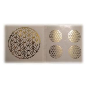 Blume des Lebens - 5-teiliges Aufkleberset (gold / transparent)