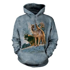 """Hoodie """"Wolf Couple Sunset"""" - Pullover für Erwachsene mit Kaputze (Größe Small)"""