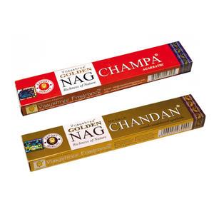 2 Packungen Räucherstäbchen VIJASHREE Incense - verschiedene Düfte Golden Nag (je 15 Gramm)