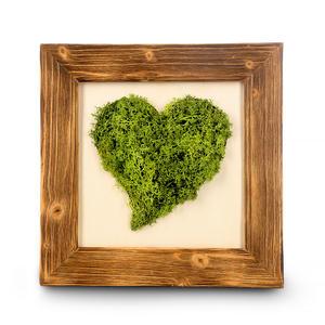 Moosbild Herz mit Altholzrahmen 40x40cm