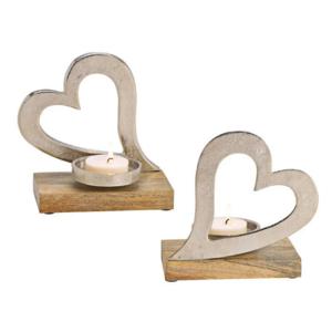 Kerzenhalter Herz aus Metall auf Mangoholz Silber