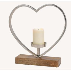 Kerzenhalter Herz aus Alu auf Mangoholz mit Sockel