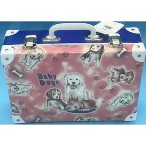 49095 Handarbeitskoffer, Allzweckkoffer, Hunde, Baby Dogs, ca. 33x23x10cm,