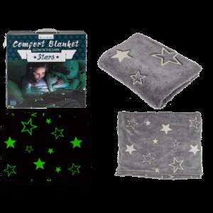 Kuscheldecke mit Sternen, Glow in the dark (nachtleuchtend), ca. 135x173cm, in Geschenkverpackung