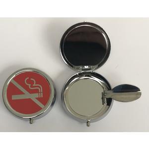 11301 Mini Aschenbecher, Pocket Ashtray, Motiv: rauchen verboten, Metall chrome, ca. 5cm