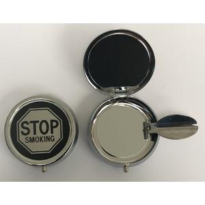 11301 Mini Aschenbecher, Pocket Ashtray, Motiv: stop smoking, Metall chrome, ca. 5cm