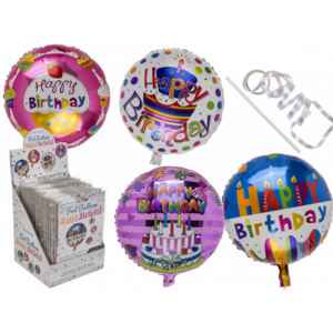 4 Stück Folien Luftballon Happy Birthday, in Metalloptik, ca. 45cm, wiederbefüllbar,, 4-fach sortiert, 4 Stück Preis