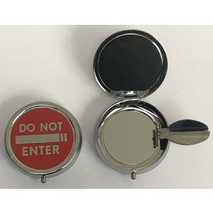11301 Mini Aschenbecher, Pocket Ashtray, Motiv: Do not Enter, Metall chrome, ca. 5cm