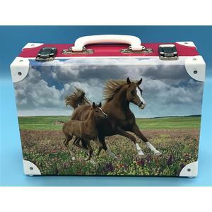 3634313-99 Handarbeitskoffer Mehrzweckkoffer Pferd mit Fohlen