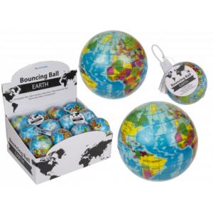 Soft Springball Globus, Weltkugel, ca. 7,5cm,Preis für 24 Stück im Display