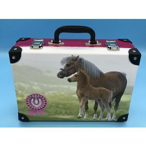 3634305-99 Handarbeitskoffer Mehrzweckkoffer Bastelkoffer Pferd mit Fohlen