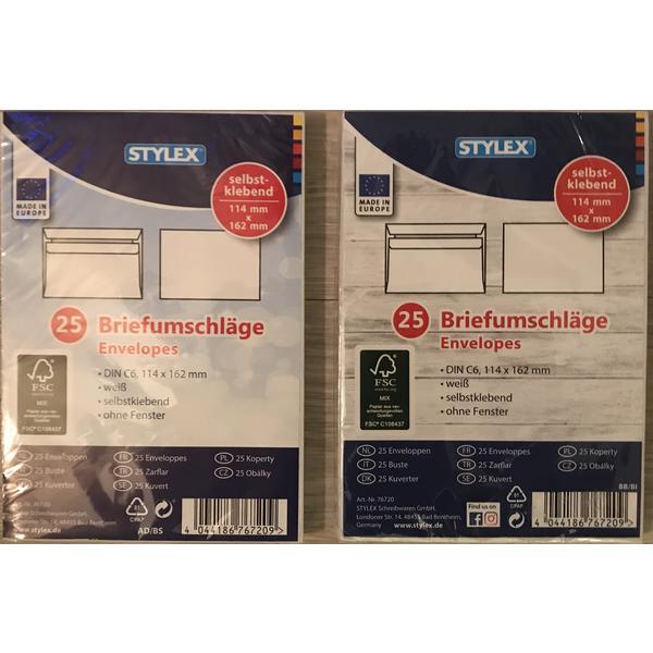 76720 2x25 Stück Briefumschläge Kuvert C6 114x162mm, weiß selbstklebend