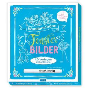 wunderschöne Fensterbilder 23x23cm, 10 Vorlagen, mit Kreidemarker, Trötsch Verlag