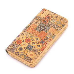 Geldbörse für Damen, Motiv: Mosaik in blau-braun, aus Kork, vegan, vintage, bunt, aus Portugal