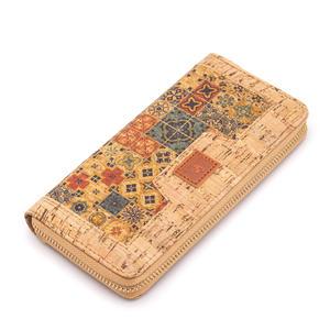 Geldbörse für Damen, Motiv: Mosaik-Natur, aus Kork, vegan, vintage, bunt, aus Portugal