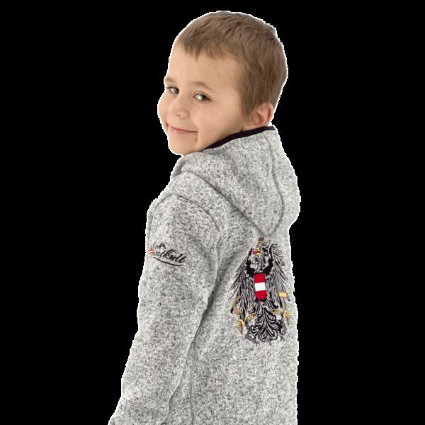 Österreich Kinder Jacke mit Kapuze / Kultjacke / Strickfleecejacke mit Österreich Adler
