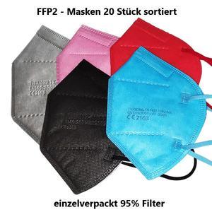 FFP2 Schutzmaske, Mundschutz 20 Stück sortiert mit CE - Zertifizierung einzelverpackt